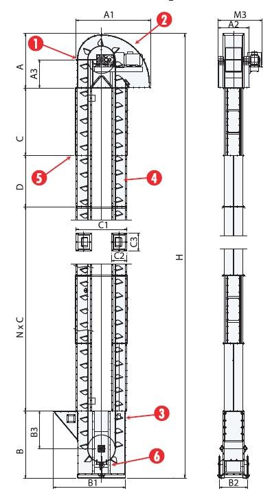 dimensions bucket elevator