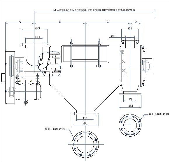 Tamis centrifuge dimensionnel plan