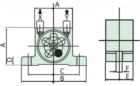 dimension pneumatic turbine vibrator